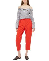 TOPSHOP - Gray Bardot Stripe Shirt - Lyst