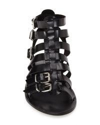 TOPSHOP - Black 'Favorite' Flat Gladiator Sandal - Lyst