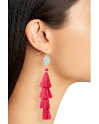 Panacea - Pink Tiered Tassel Earrings - Lyst