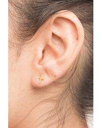 Dogeared - Metallic 14k Gold Plated Sterling Silver Simple Cross Stud Earrings - Lyst