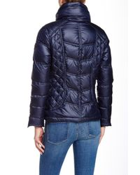 Guess - Blue Full Collar Short Down Jacket - Lyst