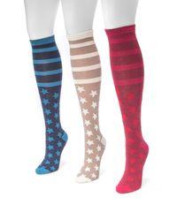 Muk Luks - Multicolor Jacquard Knee High Socks - Pack Of 3 - Lyst