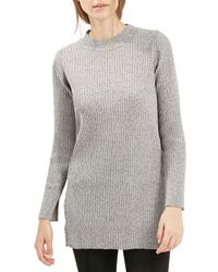 TOPSHOP | Gray Ribbed Tunic | Lyst