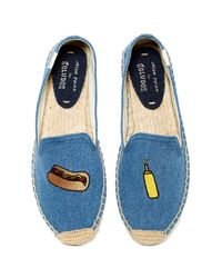 Soludos - Blue Hot Dog Embroidered Smoking Slipper - Lyst