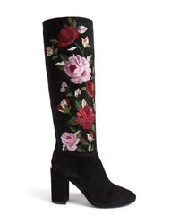 Kate Spade - Black Greenfield Flower Embroidered Boot - Lyst