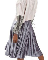 TOPSHOP - Gray Pleated Velvet Midi Skirt - Lyst