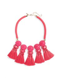 TOPSHOP - Pink Multi Tassel Collar Necklace - Lyst