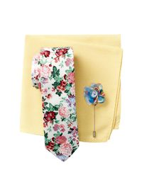 Original Penguin | White Ashwood Floral Tie, Pocket Square, & Lapel Pin 3-piece Set for Men | Lyst