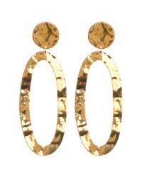 Soko - Metallic Hammered Open Oval Drop Earrings - Lyst