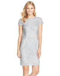 JS Collections - Metallic Short Sleeve Soutache Cocktail Dress - Lyst