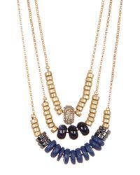 Kenneth Cole | Blue Bead Layer Necklace | Lyst