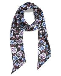 Treasure & Bond - Blue Mirrored Floral Silk Skinny Scarf - Lyst