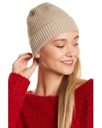 Portolano - Natural Black Cashmere Ribbed Cuffed Beanie - Lyst