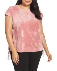 Two By Vince Camuto - Pink Side Tie Velour Top - Lyst