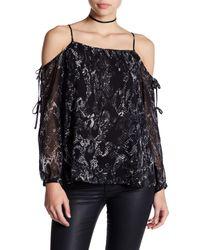 1.STATE - Black Long Sleeve Cold Shoulder Blouse - Lyst
