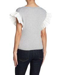 Love Token - Gray Ruffle Sleeve Sweater - Lyst