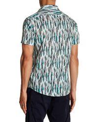 Lindbergh - Green Feather Print Short Sleeve Regular Fit Shirt for Men - Lyst