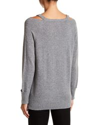 In Cashmere | Gray Cold Shoulder Cashmere Sweater | Lyst