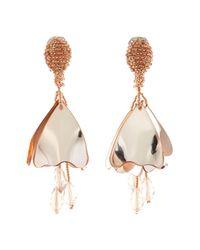 Oscar de la Renta - Metallic Mini Impatiens Flower Drop Swarovski Crystal Embellished Clip On Earrings - Lyst