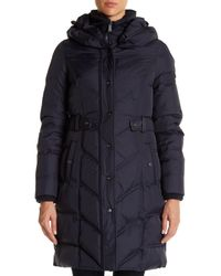 DKNY - Blue Hooded Down Puffer Parka Coat - Lyst