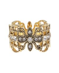 Ariella Collection - Metallic Crystal Filigree Ring - Lyst
