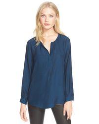 Joie | Blue 'arrosa' Silk Print Popover Blouse | Lyst