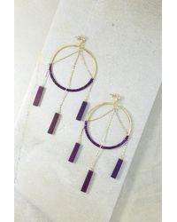 Vanessa Mooney - Purple The Meadows Yellow Gold Plated Beaded Hematite Chandelier Hoop Earrings - Lyst