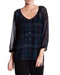 Joie | Blue Vorda 3/4 Sleeve Sheer Silk Blouse | Lyst