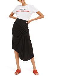 TOPSHOP   Black Ruched Drape Midi Skirt   Lyst