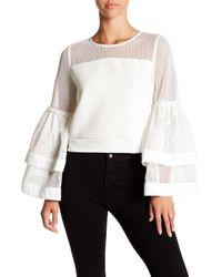 Gracia - White Layered Bell Sleeve Mesh Shirt - Lyst