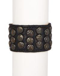 Frye - Black Stud Leather Cuff - Lyst