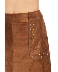 BB Dakota - Brown Faux Suede Beaded Mini Skirt - Lyst