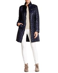Cole Haan | Blue Quilted Leather Trim Belted Coat | Lyst