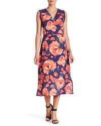 Joe Fresh - Multicolor Floral Surplice Midi Dress - Lyst