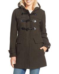London Fog Green Wool Blend Duffle Coat With Faux Shearling Lined Hood