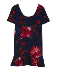 Charles Henry - Blue Floral Shift Dress - Lyst