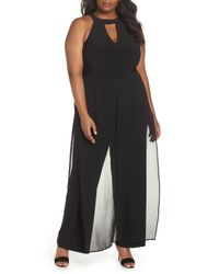 Marina - Black Mock Neck Jumpsuit (plus Size) - Lyst