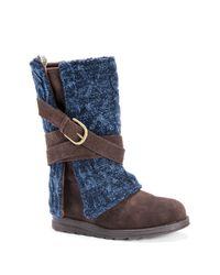 Muk Luks - Brown Nikki Removable Knit Cuff Buckle Boot - Lyst