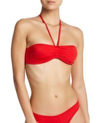 2b855f09d6c1e Lyst - Solid   Striped Claire Halter Bandeau Bikini Top in Red