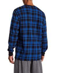 Polo Ralph Lauren - Blue Plaid Waffle Knit Long Sleeve Tee for Men - Lyst