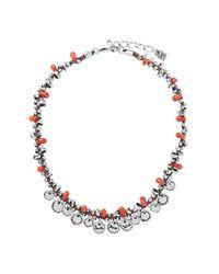 Uno De 50 Metallic A Fuego Beaded Fringe Leather Necklace