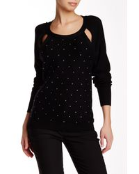 Tracy Reese - Black Sparkle Embellished Cutout Pullover - Lyst