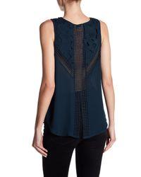 Dex Blue Sleeveless Crochet Knit Blouse