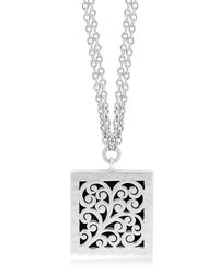 Lois Hill - Metallic Sterling Silver Small Signature Hand Carved Double Chain Scroll Pendant Necklace - Lyst