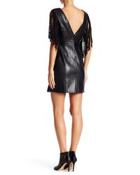 Romeo and Juliet Couture Black Faux Leather Fringe Dress