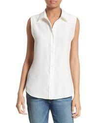 FRAME - White Silk Sleeveless Western Shirt - Lyst