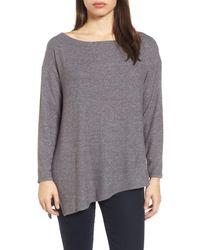 Gibson - Gray Asymmetrical Cozy Fleece Top - Lyst