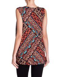 Bobeau - Red Geo Print Sleeveless Shirt - Lyst