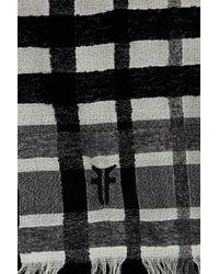 Frye - Black Stripe Virgin Wool Blend Wrap Scarf - Lyst