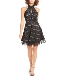 Love, Fire - Black Lace Fit & Flare Dress - Lyst
